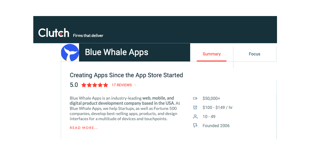 Blue Whale Apps Clutch Profile